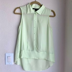 Theory Sleeveless Silk Button Down Collared Blouse
